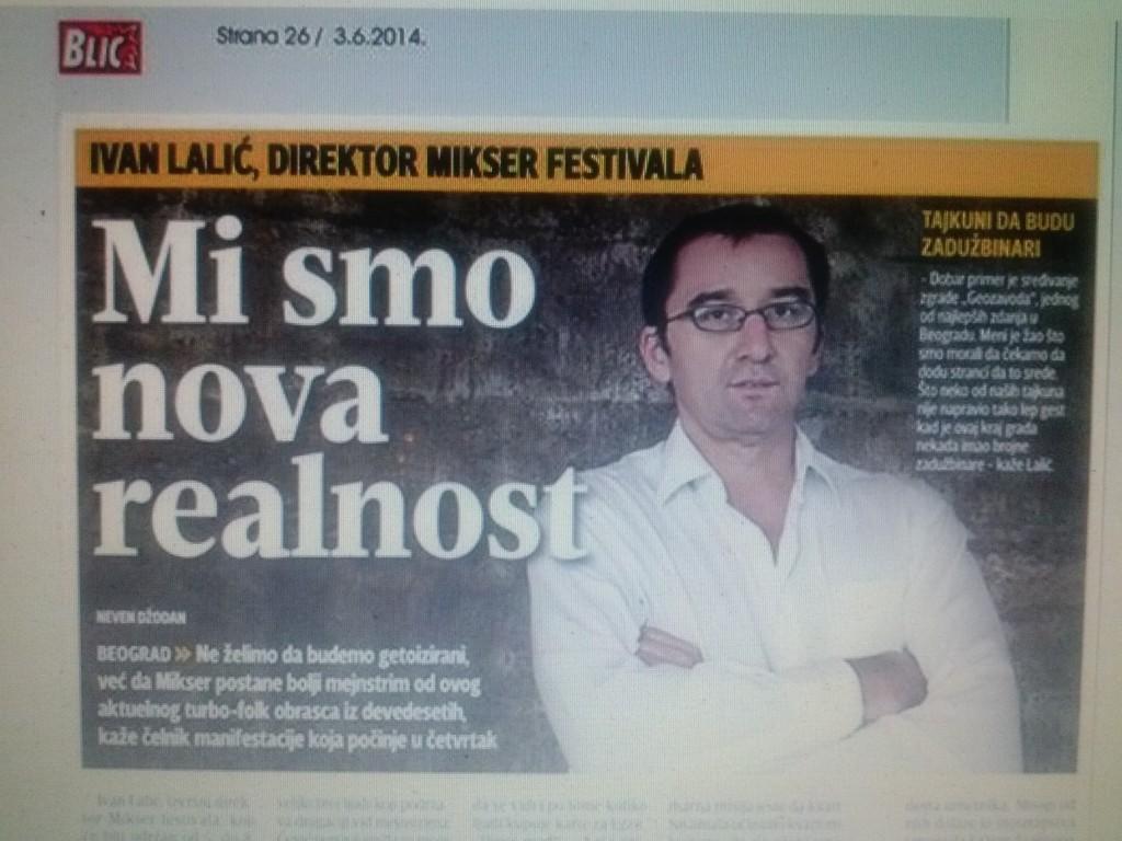 Ivan Lalić, izvršni direktor Mikser festivala, za Blic uoči otvaranja festivala 2014.
