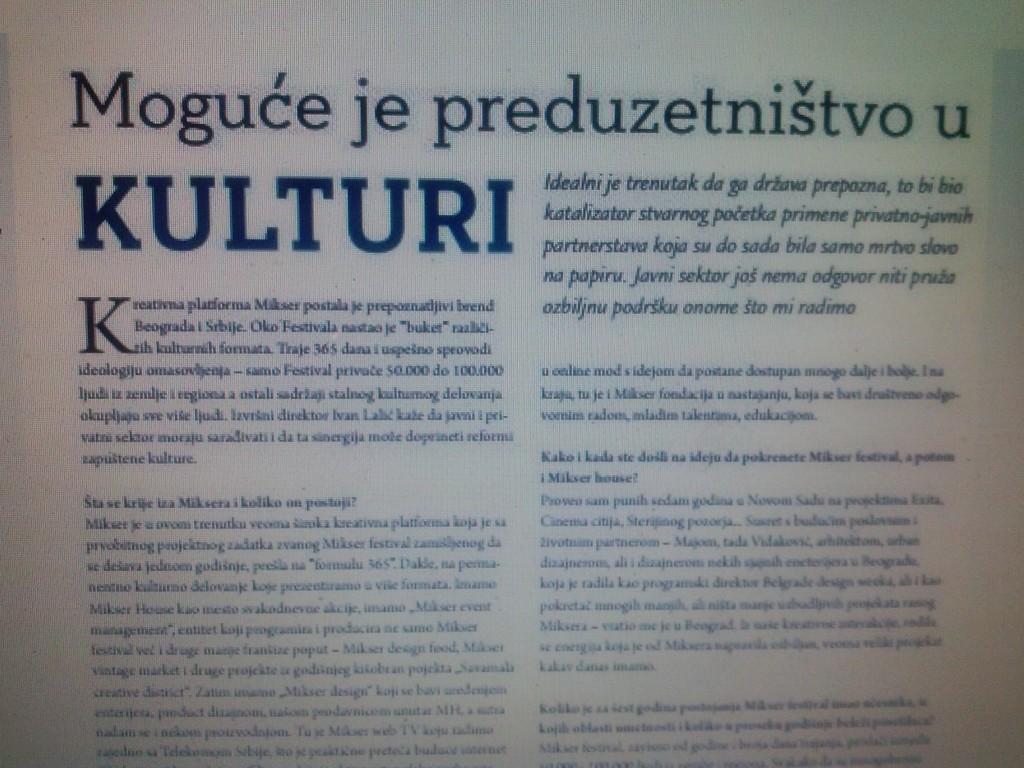 "Članak o Mikseru u časopisu ""Singerija-Poslovni žurnal nacionalne alijanse za lokalni ekonomski razvoj"", br.4, avgust 2014, str.64-65."