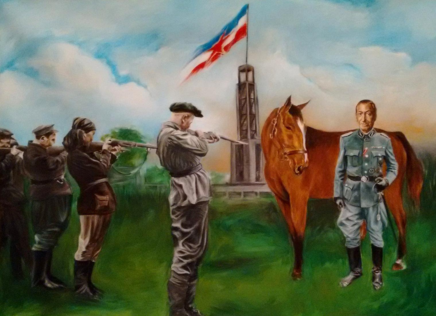 """Alexander Nikolić, """"Proleterska brigada strelja Kurta Valdhajma i njegovog konja na Starom sajmištu"""", ulje na platnu, 140x160cm, Beč, 2016."""