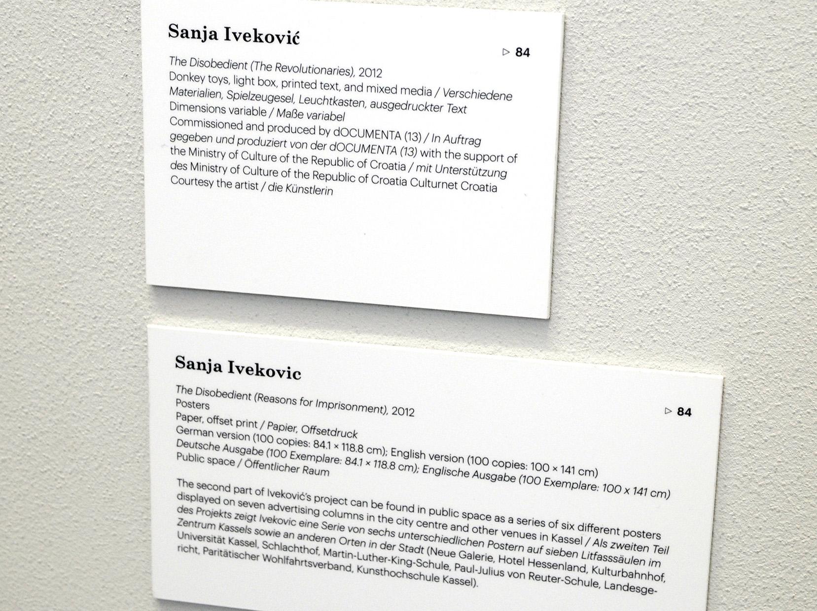 Opis rada Sanje Iveković za Dokumentu 13, 2012. Foto: DeMaterijalizacija umetnosti