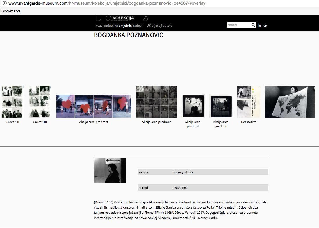 Ponuđeni radovi Bogdanke Poznanović sa internet stranice
