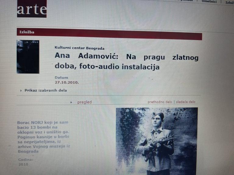 """Deo rada Ane Adamović iz ciklusa fotografija """"Na pragu zlatnog doba"""". Foto: DeMaterijalizacija umetnosti, 2019."""